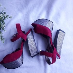 Dolce Vita Red Suede and Sparkle Pumps